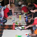 Painting lemurs at a Madagascar event for 4 and 5 year olds at Cotswold Wildlife Park